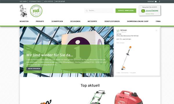 Internetauftritt Faé GmbH, Kriens